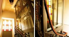 Nella tromba delle scale e' stato installato un'ascensore che porta dal piano cantine/garage alle mansarde
