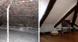 Il sottotetto con accesso da una botola e' stato totalmente ristrutturato con la costruzione di due mansarde